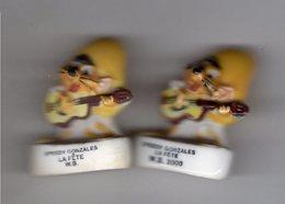 Lot 2 Fèves Dont 1 Brillante & 1 Mâte  SPEEDY GONZALES à La Guitare -  Souris LA FETE 2000 & 2001 - / W.B - Dessins Animés