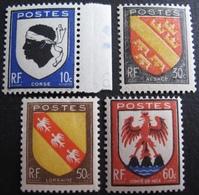 R1692/435 - 1946 - ARMOIRIES DE PROVINCES (SERIE COMPLETE) N°755 à 758 NEUFS** - France