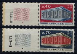 ANDORRE 1969 - Y&T N° 194 Et 195 Neufs ** Luxe Bord De Feuille - Andorre Français