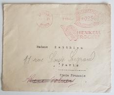 """1931 Cover, Deutsches Reich, Wiesbaden Biebrich Germany - Paris France, """"Henkell Trocken"""" - Lettres & Documents"""