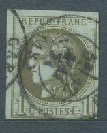 N°39  BORDEAUX OLIVE FONCE CACHET A DATE - 1870 Bordeaux Printing