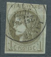 N°39  BORDEAUX OLIVE FONCE CACHET A DATE VARIETE 1 CASSE - 1870 Bordeaux Printing