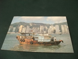STORIA POSTALE  FRANCOBOLLO HONG KONG  THE GRAND VIEW OH HONG KONG HARBOUR BARCA 1° PIANO - Cina (Hong Kong)