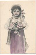 M. M. VIENNE ?, N° 1012 - Petite Fille Au Plateau, Fleurs, Jupon Violine - Vienne