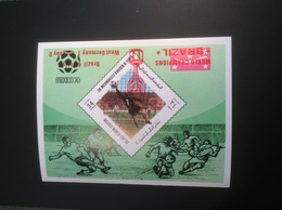 "Yemen 1970 Football Mexico World Cup RARE INVERTED ""WORLD CHAMPION BRAZIL"" SURCHARGE Mi. Block 217B (Jemen Bloc M.s - Yémen"