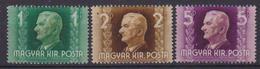 UNGHERIA  1943 AMMIRAGLIO HORTHY YVERT 634-636 MNH XF - Nuovi