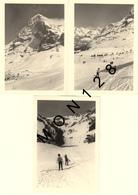 SUISSE ALPES BERNOISES - GRINDELWALD 1966 - 3 PHOTOS 9x13 Cms - SKIEURS MONTAGNE CHALETS - Lieux