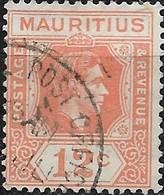 MAURITIUS 1938 King George VI - 12c - Orange FU - Mauritius (1968-...)