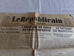 """Journal """" Le Républicain Du Centre """" Du 3 Et 4 Mars 1941, """" Le Voyage Du Maréchal """" - Journaux - Quotidiens"""