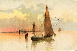 VELERO PESQUERO BARCO PINTURA / FISHING SAILBOAT BOAT PAINTING POSTAL POST CARD CIRCULATED 1903 -LILHU - Segelboote