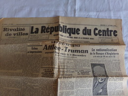 """Journal """" La République Du Centre """" Du 31 Octobre 1945, """" La Nationalisation De La Banque D'Angleterre """" - Journaux - Quotidiens"""