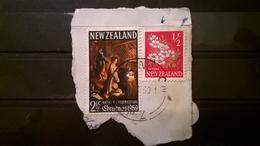 FRANCOBOLLI STAMPS NUOVA ZELANDA NEW ZELAND 1969 SU FRAMMENTO NATALE CHRISTMAS - Nuova Zelanda