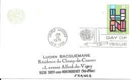 Onu, United Nations, Nations Unies,new York, Entier Postal 1975, Carte Postale Fdc, Un Sur Fond Vert 8 C - Lettres & Documents