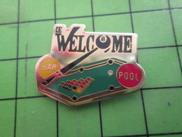915c Pins Pin's / Rare & De Belle Qualité  THEME :SPORTS / BILLARD LE WELCOME BAR POOL - Billiards