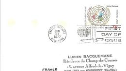Onu, United Nations, Nations Unies,new York, Entier Postal 1977, Carte Postale Fdc, Emblème De L'onu,  9 C - Lettres & Documents