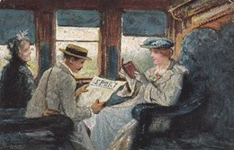 """TUCK Series 9186 """"BY TRAIN"""", People Reading Newspaper & Book , 00-10s - Tuck, Raphael"""