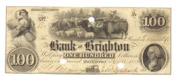 100 DOLLARS MASSACHUSETTS BANQUE DE BRIGHTON 1850 - Massachusetts