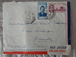 LETTRE PAR AVION 1953, DALAT , 2 TIMBRES - Cambodge