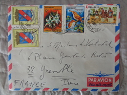 LETTRE PAR AVION , 5 TIMBRES - 1966 - Madagascar (1960-...)
