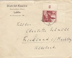 GG: Distrikt Kasino Deutsches Haus, Lublin Nach Friedland, Eckrand Marke - Occupation 1938-45