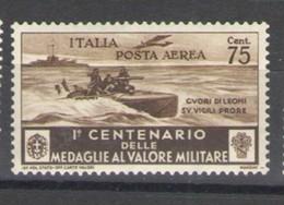 REGNO 1934 MEDAGLIE AL VALOR MILITARE POSTA AEREA 75 C. ** MNH - 1900-44 Victor Emmanuel III