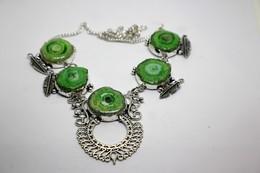 Collana Di Quarzo Solare Verde Misura Cm. 48 - Colliers/Chaînes