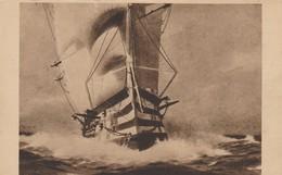 CPA  -  BRUN - UN TROIS PONTS - SALON 1931 - COLLECTION CHANTEREAU - Sailing Vessels