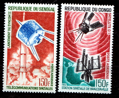SENEGAL  & KONGO BRAZZAVILLE  1965/66  SATELITES  MNH - Senegal (1960-...)