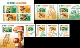 Niger 2013, Animals, Owls &mushrooms, 4val In BF+7BF - Niger (1960-...)