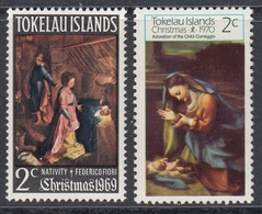 Tokelau 1969-1970 - Christmas: Nativity, Adoration Of The Child, Paintings - Mi 13, 14 ** MNH - Tokelau