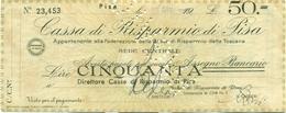 BON DE CAISSE DE 50 LIRES DE LA REPUBLIQUE SOCIALE ITALIENNE 1944 (PISE) - [ 4] Emisiones Provisionales