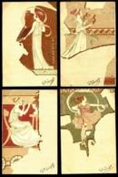 Série Complète : LES 4 MUSES -  Très Belles Illustrations Art Nouveau - CP Précurseurs, Avant 1905. - Illustrateurs & Photographes