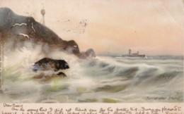 AL93 Early Raphael Tuck Postcard, Sunset After Storm - Sea, Ship, Gulls - 1900-1949