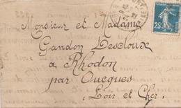 LETTRE DU 14 JANVIER 1922 POUR RHODON - France