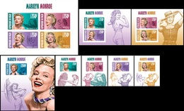 Niger 2013, Cinema, M. Monroe, 4val In BF+7BF IMPERFORATED - Niger (1960-...)