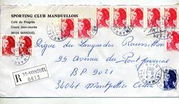 Lettre Recommandee Manduel Sur Marianne - Marcophilie (Lettres)
