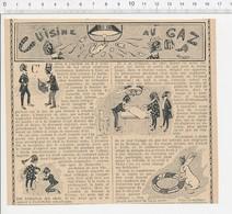 2 Scans Presse 1906 Humour Réchaud à Gaz Branché Sur Le Bec De Gaz Explosion 223CHV3 - Vieux Papiers