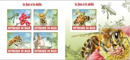 Niger 2013, Animals, Bees, 4val In BF+BF IMPERFORATED - Niger (1960-...)