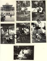 ARCACHON 1951 - 7 PHOTOS DE FAMILLE 6x9 Cms - CASINO CAMPING - Lieux