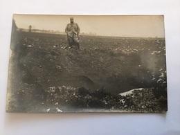 Carte Photo Trou De Bombe De Zeppelin à Brabant La Roi  1915 1914-1918 1 - 1914-18