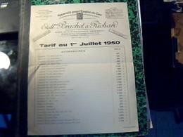 Facture  Tarif APPAEILS POUR L EMPLOI DU GAZ BRACHET & RICHARD A Paris Rue St Maurice  Annee 1950 - Francia