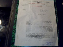 Facture  Lettre MANUFACTURE FRANCAISE DE LAMPES éLECTRIQUES LAMPE ZENITH A Aix En Provence Année 1951 - Electricité & Gaz