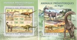 Niger 2013, Animals, Dinosaurus I, 4val In BF+BF - Niger (1960-...)