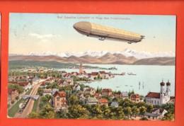 TRH-24 Graf Zeppelin Luftschiff ImFlüge über Friedrichshafen. Bahnlinie.  Gelaufen 1909 - Friedrichshafen