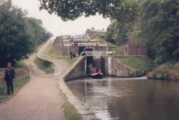 AS12 Photograph - Canal Boat Coming Through Locks - Boats
