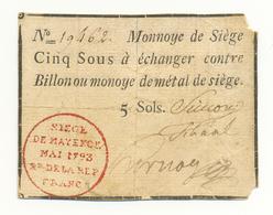 5 SOLS SIEGE DE MAYENCE 1793 - Assignats & Mandats Territoriaux