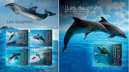 Niger 2013, Animals, Dolphins, 4val In BF+BF - Niger (1960-...)