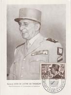 CARTE MAXIMUM - Général Jean De Lattre De TASSIGNY - 1952 - Maximum Cards