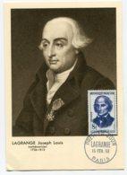 10156  FRANCE N° 1146  Joseph-Louis LAGRANGE    PJ   Du 15.2.58  TB - Maximum Cards