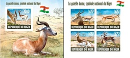Niger 2013, Animals, Gazelle, Flag Of Niger, 4val In BF+BF IMPERFORATED - Niger (1960-...)